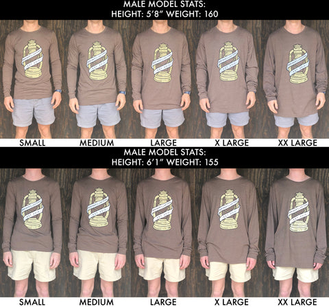 Brewers Lantern Long Sleeve T-Shirt Size Chart