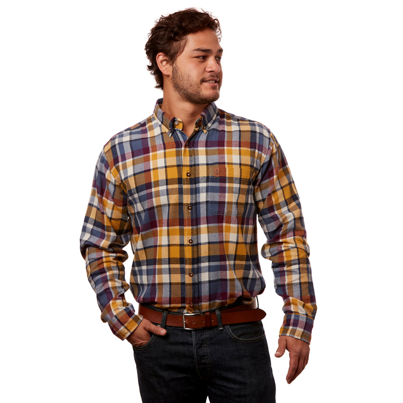 Pine Street Plaid Flannel Button Down - Pinecone Brown