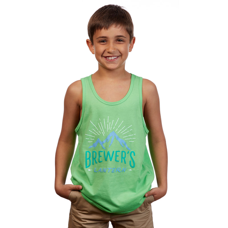 Youth Bright Mountain Tank Top - Lime Green