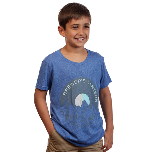 Short Sleeve T-Shirt with Mountain Record Design - Blue | Brewer's Lantern