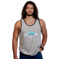 Mountain Patch Tank Top - White Raindrop Stripe