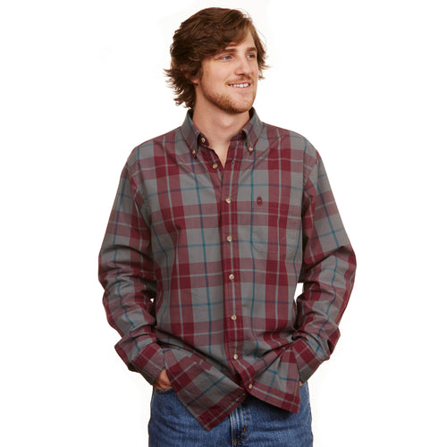 Plantation Plaid Button Down - Cranberry