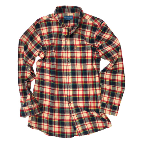 Aberdeen Plaid Flannel Button Down - Campfire Red