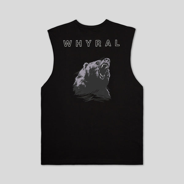 WHYRAL - ROAR MUSCLE SHIRT - BLACK