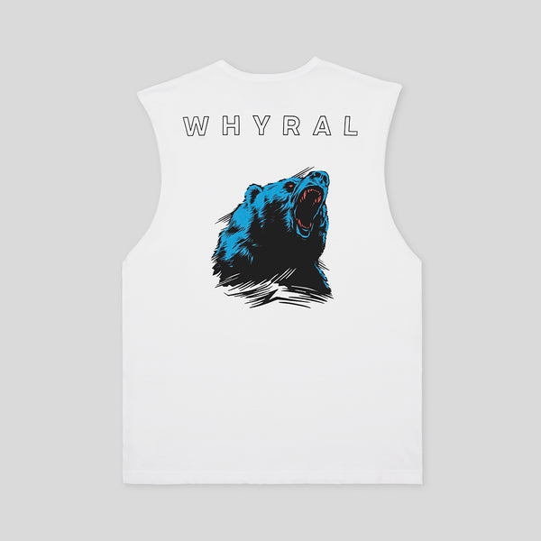 WHYRAL - ROAR MUSCLE SHIRT - WHITE