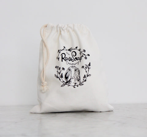 New! Organic cotton drawstring bags