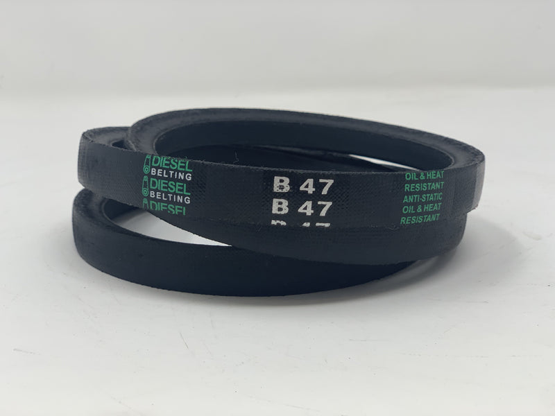 "B47 V-Belt 21/32"" x 50"" Outside Circumference Classic Wrapped Diesel Belting"
