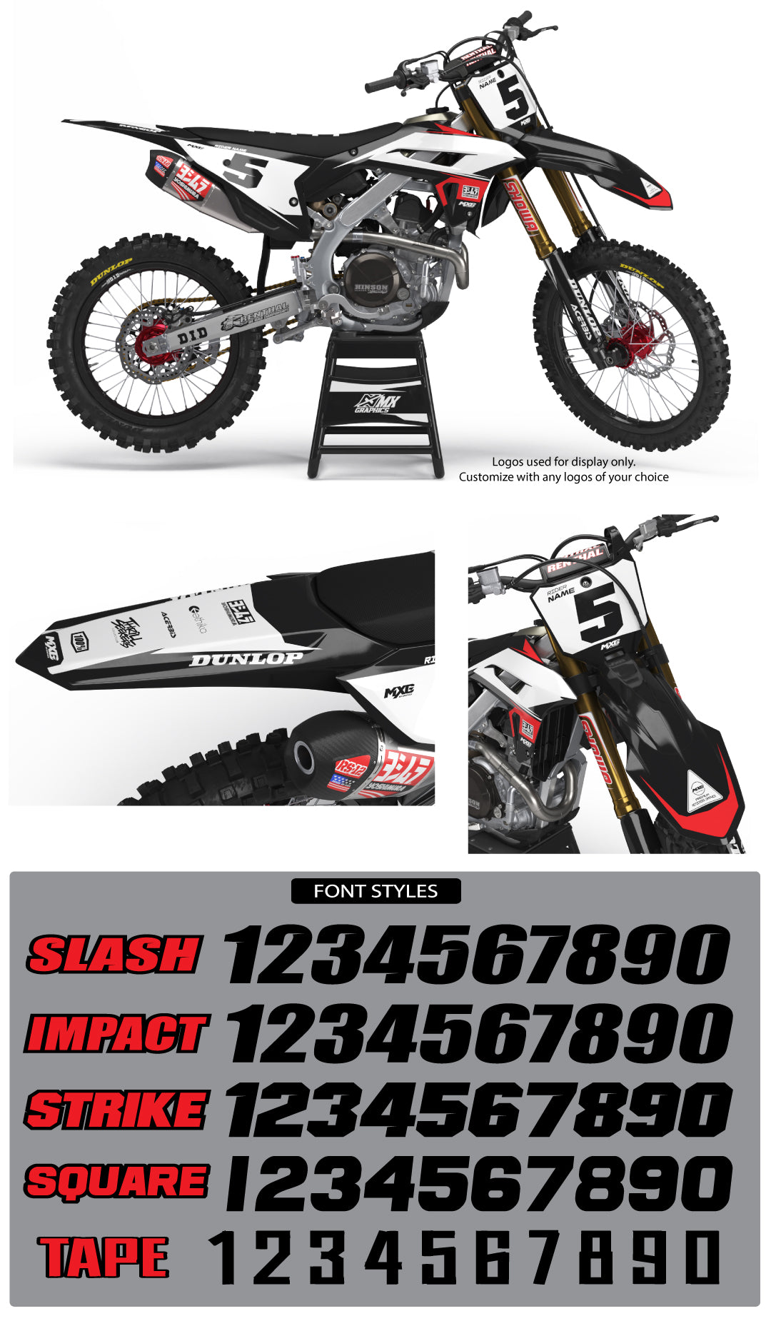 Stock Graphic Kit Black for Honda's