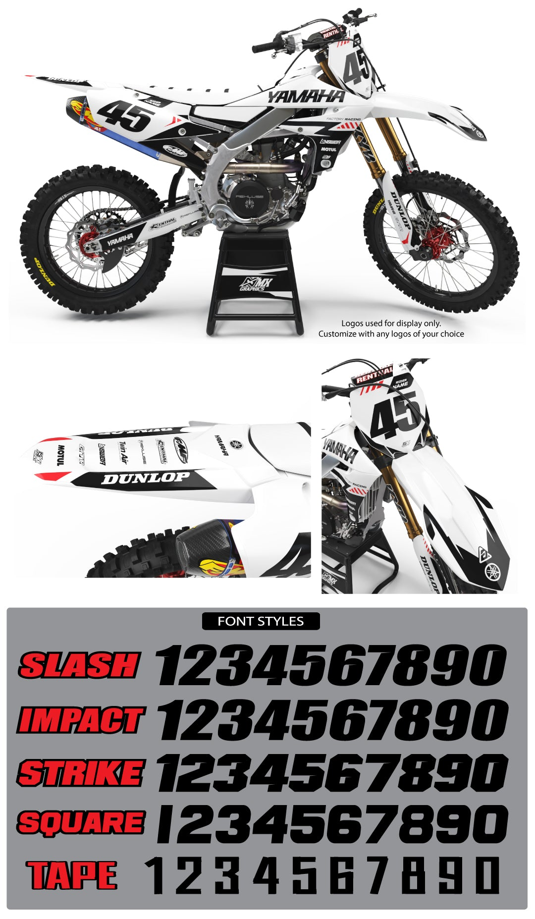 Yamaha MX18 Graphic Kit White