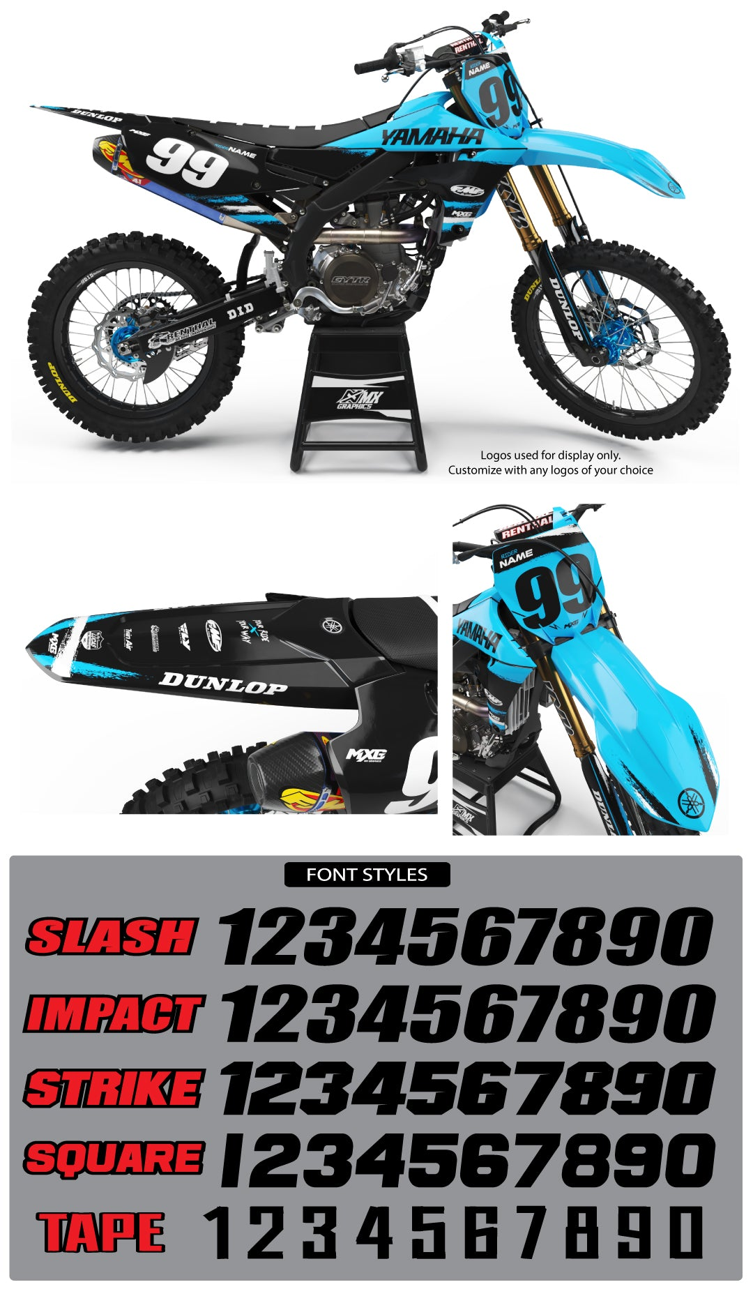 Yamaha MX25 Graphic Kit Cyan