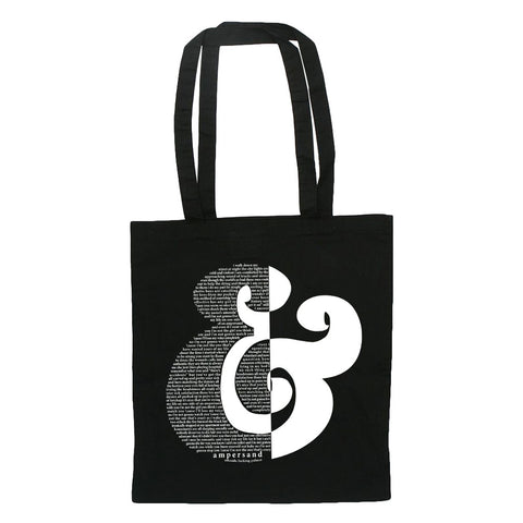 Ampersand White-on-Black Tote Bag