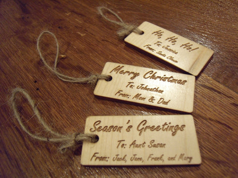 12 Customized Wooden Gift Tags
