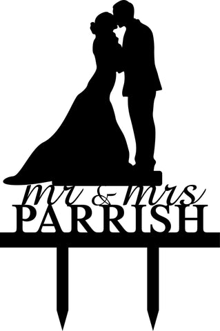 Cake Topper - Silhouette & Name