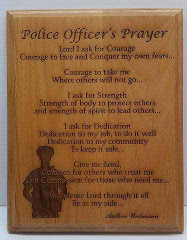Police Officer's Prayer Wooden Plaque