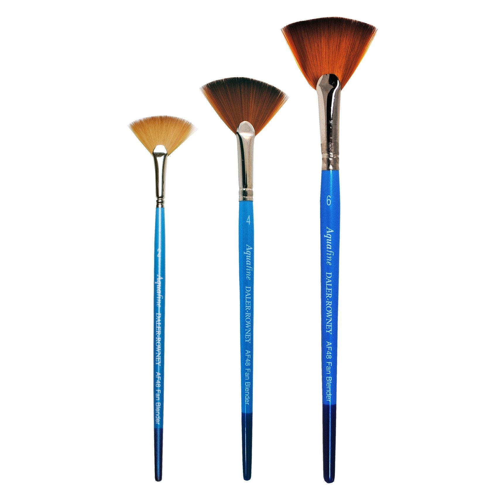 Daler-Rowney's Aquafine watercolour brushes are made using a formulation of thick and thin filaments, tapered to a point, as well as different lengths. This process imitates that of natural sable hair but because they are synthetic they offer longer life and affordability. The fan-shaped head is used for subtle blending of colour on the surface and in dry brushwork, for distant trees and foreground foliage.