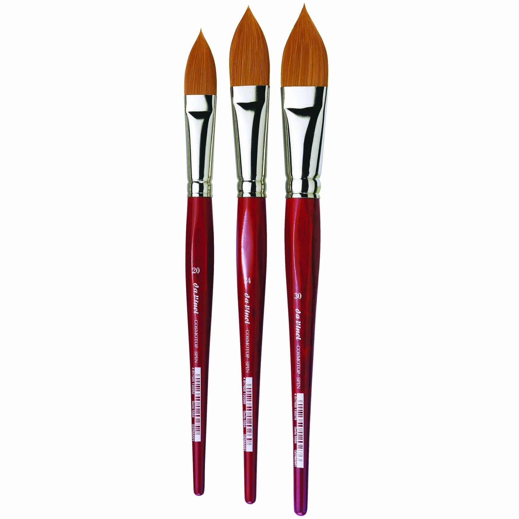 The Da Vinci Cosmotop Spin is a unique synthetic watercolour brush that is popular for its water-holding capacity and excellent value in large sizes. The ergonomic red-stained wooden handle gives greater control. Suitable for all liquid colours, especially for watercolour and silk painting.