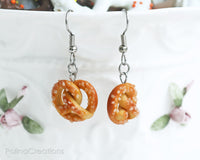 PolinaCreations Sea Salt Pretzel Earrings, Pretzel Jewelry Fake Food Jewelry Realistic Miniature Food Earrings Hypoallergenic Cute Earrings Polina Creations
