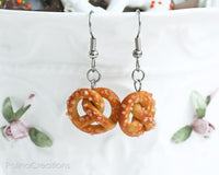 PolinaCreations Sea Salt Pretzel Earrings, Pretzel Jewelry Fake Food Jewelry Miniature Food Earrings Hypoallergenic Cute Earrings Polina Creations
