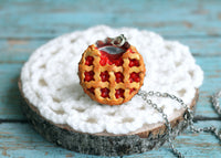 Polinacreations Handmade Jewelry Cherry Pie Pendant Cherry Pie Necklace,Miniature Food Jewelry Cherry Jewelry Red Necklace Cherry Necklace red jewelry red necklace Fake food jewelry mini food charm pie charm circle necklace red circle charm pastry jewelry pastry charm gift for her gift for woman bottle cap necklace berry jewelry