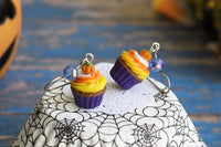 Handmade Pumpkin Cupcake Earrings (Purple Bottom), Halloween Gift