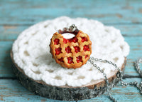 Polinacreations Handmade Jewelry Cherry Pie Pendant Cherry Pie Necklace,Miniature Food Jewelry Cherry Jewelry Red Necklace Cherry Necklace red jewelry red necklace Fake food jewelry mini food charm pie charm circle necklace red circle charm pastry jewelry pastry charm gift for her gift for woman bottle cap pendant