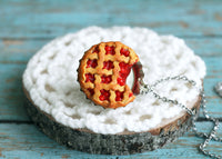 Polinacreations Handmade Jewelry Cherry Pie Pendant Cherry Pie Necklace,Miniature Food Jewelry Cherry Jewelry Red Necklace Cherry Necklace red jewelry red necklace Fake food jewelry mini food charm pie charm circle necklace red circle charm pastry jewelry pastry charm gift for her gift for woman bottle cap charm