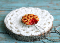 Polinacreations Handmade Jewelry Cherry Pie Pendant Cherry Pie Necklace,Miniature Food Jewelry Cherry Jewelry Red Necklace Cherry Necklace red jewelry red necklace Fake food jewelry mini food charm pie charm circle necklace red circle charm pastry jewelry pastry charm gift for her gift for woman bottle cap jewelry fruit jewelry