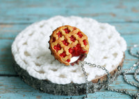 Handmade Bottle Cap Cherry Pie Necklace