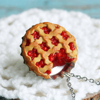 Polinacreations Handmade Jewelry Cherry Pie Pendant Cherry Pie Necklace,Miniature Food Jewelry Cherry Jewelry Red Necklace Cherry Necklace red jewelry red necklace Fake food jewelry mini food charm pie charm circle necklace red circle charm pastry jewelry pastry charm gift for her gift for woman bottle cap jewelry dessert charm