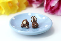 Handmade Bitten Easter Chocolate Bunny Stud Earrings. Bunny earrings. Easter Jewelry Easter bunny earrings Easter Gift bitten chocolate bunny butt polinacreations chocolate rabbit earrings polymer clay food
