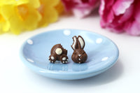 polina creations Handmade Bitten Easter Chocolate Bunny Stud Earrings. Bunny earrings. Easter Jewelry Easter bunny earrings Easter Gift bitten chocolate bunny butt polinacreations chocolate rabbit earrings polymer clay food