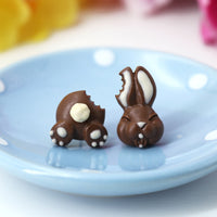 polinacreations Handmade Bitten Easter Chocolate Bunny Stud Earrings. Bunny earrings. Easter Jewelry. Easter bunny earrings, Easter Gift