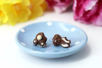Handmade Bitten Easter Chocolate Bunny Stud Earrings. Bunny earrings. Easter Jewelry Easter bunny earrings Easter Gift bitten chocolate bunny butt polinacreations chocolate rabbit earrings mini polymer clay food
