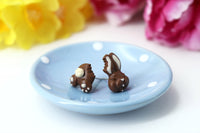 Handmade Bitten Easter Chocolate Bunny Stud Earrings. Bunny earrings. Easter Jewelry Easter bunny earrings Easter Gift bitten chocolate bunny butt polinacreations white chocolate rabbit earrings polymer clay food