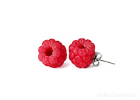 Polinacreations Raspberry Stud Earrings, Fruit Earrings, Berry jewelry Berry earrings Polymer clay Fake Food jewelry Garden jewelry Garden Gifts Fruit Jewelry Polina creations