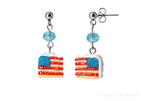 Handmade USA Flag Cake Stud Dangle Earrings, 4th of July Gift