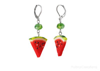 Handmade Watermelon Slice Earrings