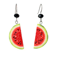 Handmade Watermelon Half Slice Earrings