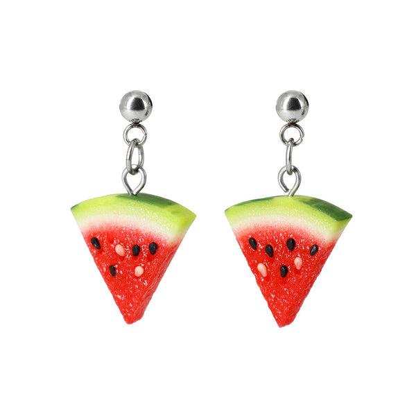 Handmade Watermelon Slice Stud Dangle Earrings
