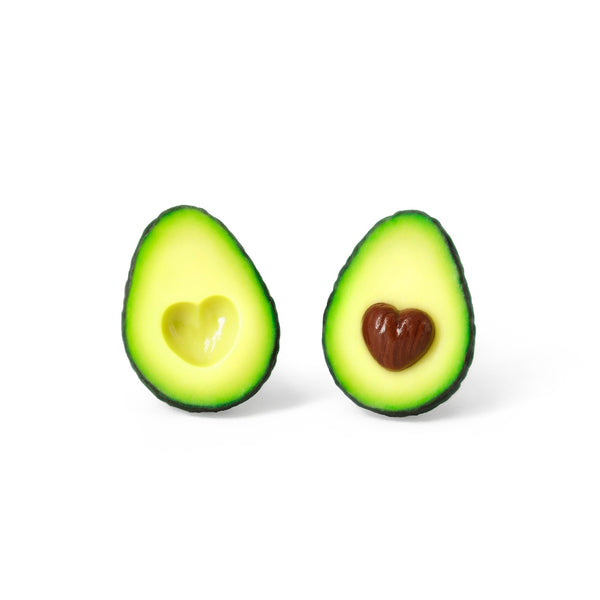 Polinacreations Avocado Heart Stud Earrings, best friend gift friendship present Fake Food Jewelry Fruit Earrings Polymer Clay Avocado Jewelry Love Heart Earrings Avocado Gift Summer Earrings