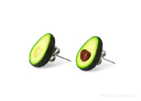 Polinacreations Avocado Heart Stud Earrings, BBF gift Fake Food Jewelry Fruit Earrings Polymer Clay Avocado Jewelry Love Heart Earrings Avocado Gift Summer Earrings