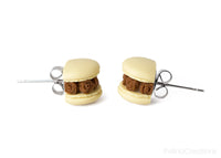 Handmade Beige & Chocolate Floral Macaron Stud Earrings