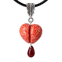 PolinaCreations Handmade Jewelry Bloody Brain Heart Necklace, Brain Jewelry Spooky Blood Jewelry Halloween Accessories Broken Heart Scary Jewelry Czech Glass Bead Necklace Halloween Jewelry Halloween Necklace gift for her Gift for woman red necklace red jewelry