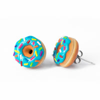 Handmade Jewelry Blue Glazed Doughnut Earrings With Sprinkles, Donut Earrings PolinaCreations Fake Food Jewelry Polymer clay Food Earrings mini food jewelry miniature food cute studs small earrings circle earrings sprinkle jewelry rainbow jewelry hypoallergenic jewelry polina creations jewellery gift for her gift for woman girls baskin robbins dunkin donut