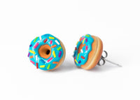 Handmade Jewelry Blue Glazed Doughnut Earrings With Sprinkles, Donut Earrings PolinaCreations Fake Food Jewelry Polymer clay Food Earrings mini food jewelry miniature food cute studs small earrings circle earrings sprinkle jewelry rainbow jewelry hypoallergenic jewelry polina creations jewellery gift for her gift for woman girls baskin robbins dunkin donut blue earrings
