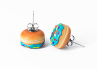 Handmade Jewelry Blue Glazed Doughnut Earrings With Sprinkles, Donut Earrings PolinaCreations Fake Food Jewelry Polymer clay Food Earrings mini food jewelry miniature food cute studs small earrings circle earrings sprinkle jewelry rainbow jewelry hypoallergenic jewelry polina creations jewellery gift for her gift for woman girls baskin robbins dunkin donut blue jewelry