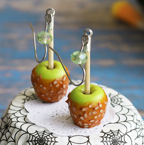 polinacreations Handmade jewelry Almond Caramel Apple Earrings, Halloween Earrings, Apple Earrings Apple Jewelry, Green Earrings Halloween Jewelry Nut Jewelry apple charm fruit earrings berry jewelry fruit earrings green jewelry almond charm walnut jewelry caramel jewelry fake food jewelry polymer clay food jewelry mini food earrings thanks giving jewelry