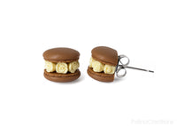 Handmade Chocolate Floral Macaron Stud Earrings