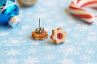 Handmade Christmas Jam Linzer Cookie Earrings, Jam Filled Cookie Earrings Star Earrings Star Jewelry Cute earrings Kawaii PolinaCreations Xmas gift for woman Fake food jewelry polymer clay earrings star earrings hypoallergenic jewelry polina creations