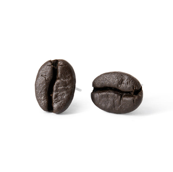 Handmade Coffee Bean Stud Earrings